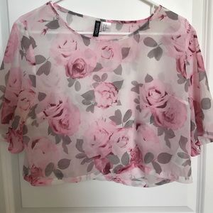 H&M Floral Crop Top See Through Size 10